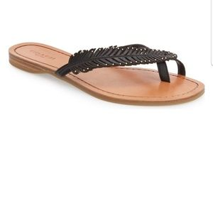 COACH DENI FEATHER THONG SANDALS. Size 8.5